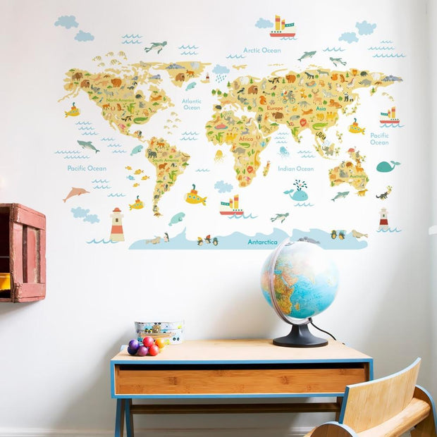 Colorful World Map Wall Sticker for Kids B
