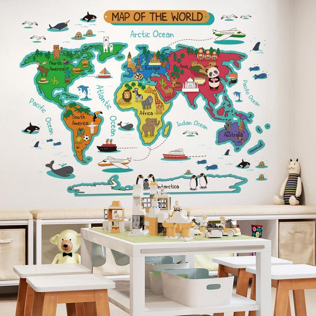 Colorful World Map Wall Sticker for Kids C