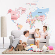 "Colorful World Map With Countries Names 24""x36"" Wall Sticker"
