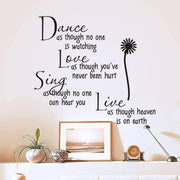 "Dance, Love, Sing, Live - Wall Sticker Quotes 24""x16"" Wall Sticker"