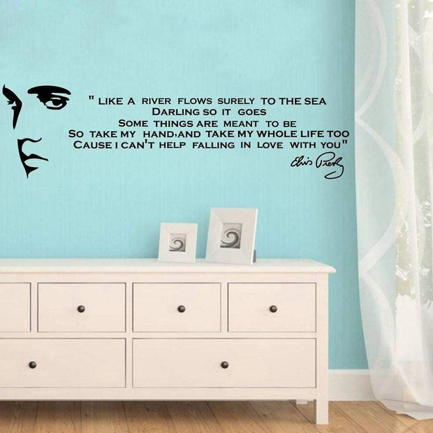 Elvis Presley's Falling In Love With You Song Lyrics As Wall Sticker Wall Sticker