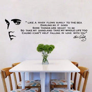 "Elvis Presley's Falling In Love With You Song Lyrics As Wall Sticker Black / 43""x12"" Wall Sticker"