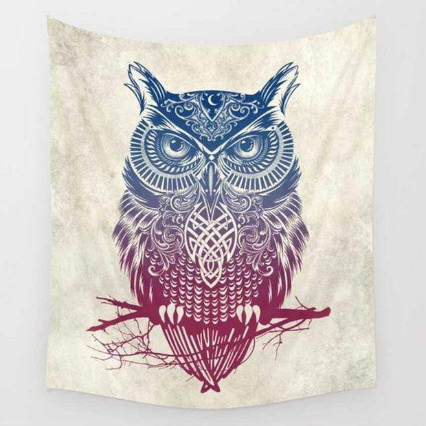 Feather Owl Wall Tapestry Tapestry