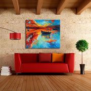 "Fishermans Dream Colorful Boat Painting Boat & Red Clouds / 20""x24"" / Unframed Canvas"