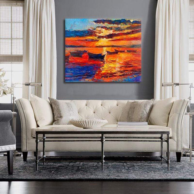 "Fishermans Dream Colorful Boat Painting Boats & Sunset / 20""x24"" / Unframed Canvas"