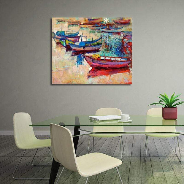 "Fishermans Dream Colorful Boat Painting Colorful Boats / 20""x24"" / Unframed Canvas"