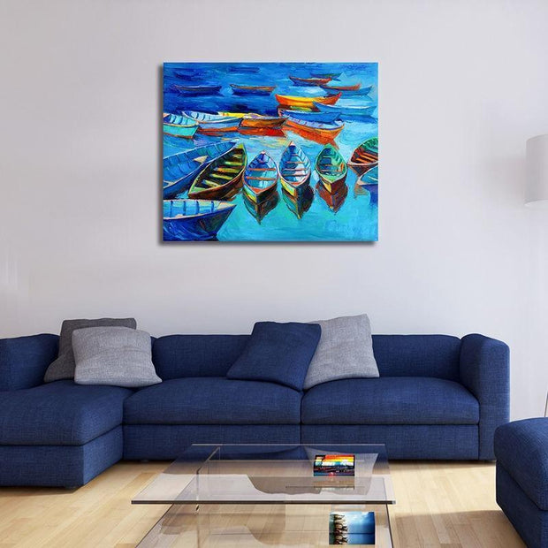 "Fishermans Dream Colorful Boat Painting Multiple Boats / 20""x24"" / Unframed Canvas"