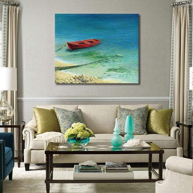 "Fishermans Dream Colorful Boat Painting Red Boat / 20""x24"" / Unframed Canvas"