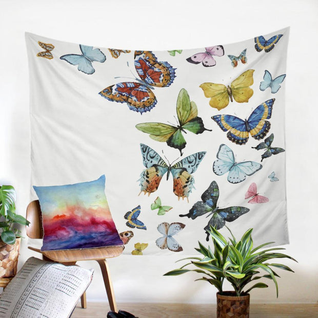 Flying Butterflies Microfiber Tapestry Tapestry