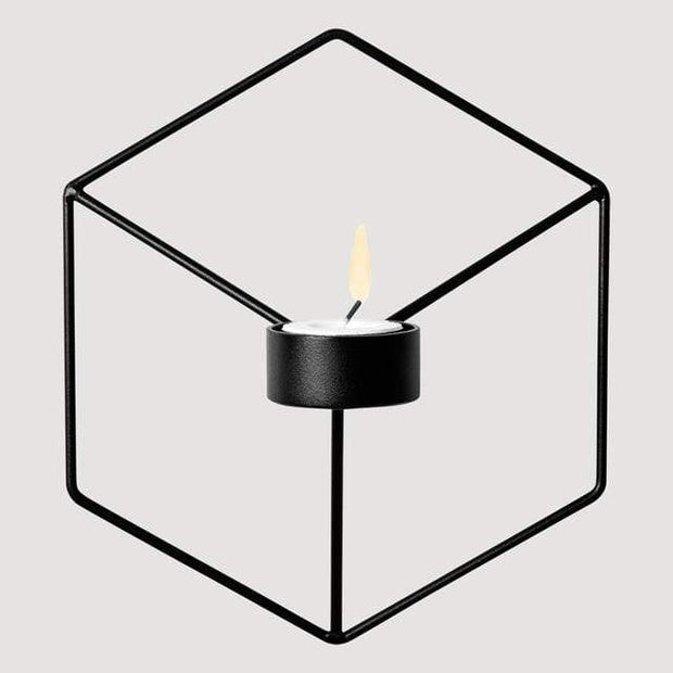 Geometric Candle or Plant Holder For Wall Decor Black Accessories