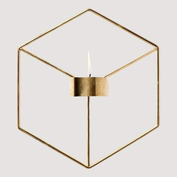 Geometric Candle or Plant Holder For Wall Decor Golden Accessories