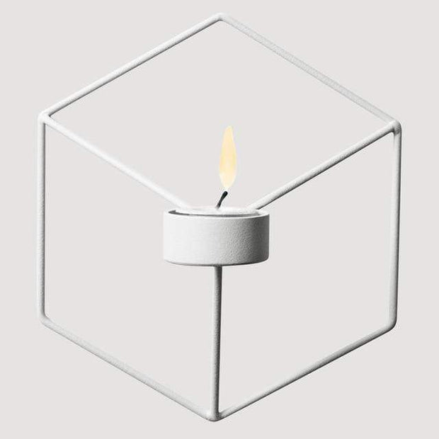 Geometric Candle or Plant Holder For Wall Decor White Accessories