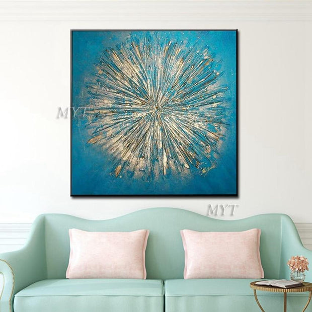 Golden Color Put in the Form of Fireworks Canvas Print Oil Painting
