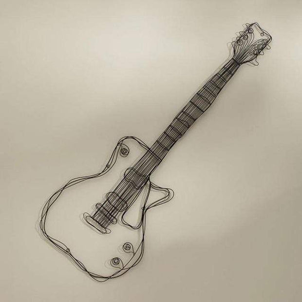 Guitar and Headset Metal Wire Sculpture for Wall Decor Accessories