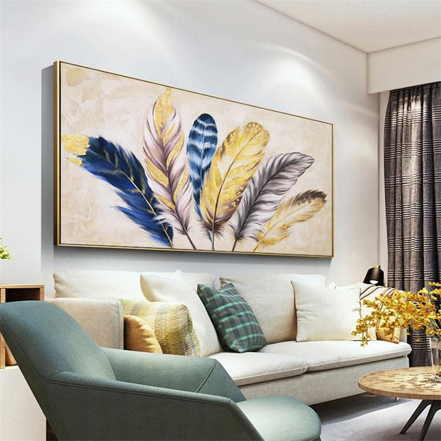 Hand Painted Golden Feather Modern Painting Oil Painting