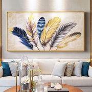 "Hand Painted Golden Feather Modern Painting 28""x56"" Oil Painting"