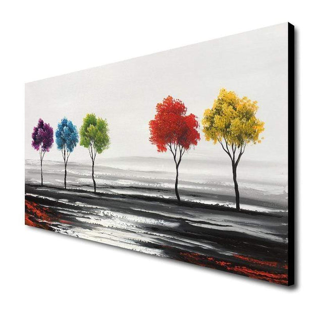 Hand Painted Oil Painting of Colorful Trees Oil Painting