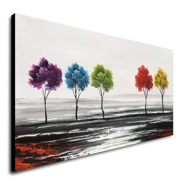 "Hand Painted Oil Painting of Colorful Trees 20""X40"" Oil Painting"