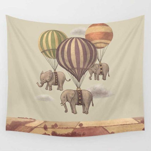 Hot Air Balloon Elephant Wall Tapestry Tapestry