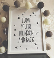 "I Love You To The Moon And Back Quote Canvas Poster 12""x10"" Canvas"