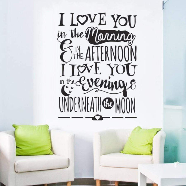 "I Love You Underneath the Moon Wall Sticker Black / 16""x22"" Wall Sticker"