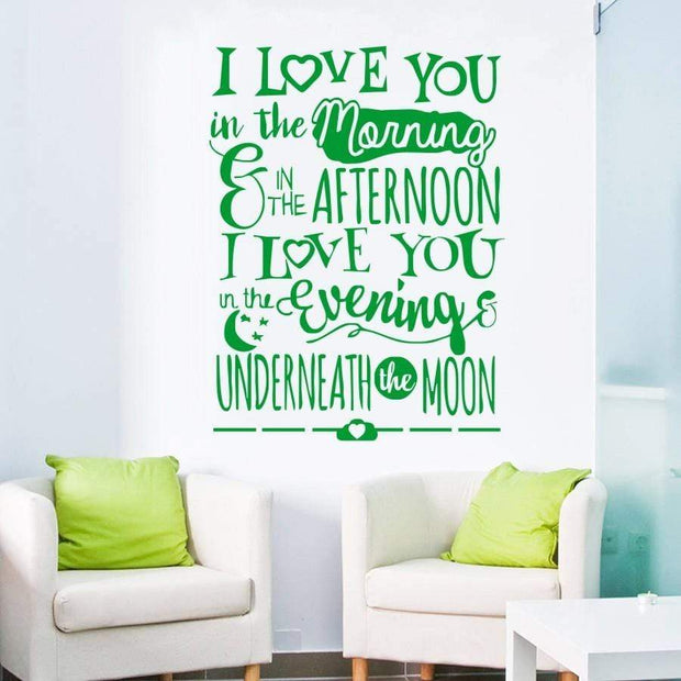 "I Love You Underneath the Moon Wall Sticker Green / 16""x22"" Wall Sticker"