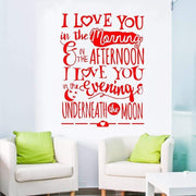 "I Love You Underneath the Moon Wall Sticker Red / 16""x22"" Wall Sticker"