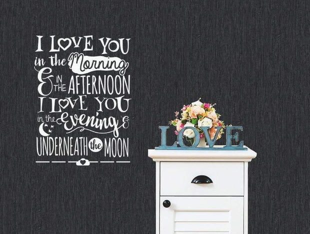 "I Love You Underneath the Moon Wall Sticker White / 16""x22"" Wall Sticker"