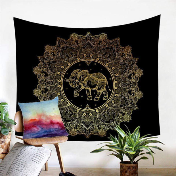 Indian Elephant Mandala Tapestry Tapestry