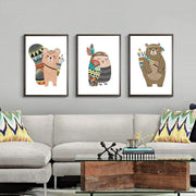 Indian Style Cartoon Animal Canvas Posters For Kids Room Canvas