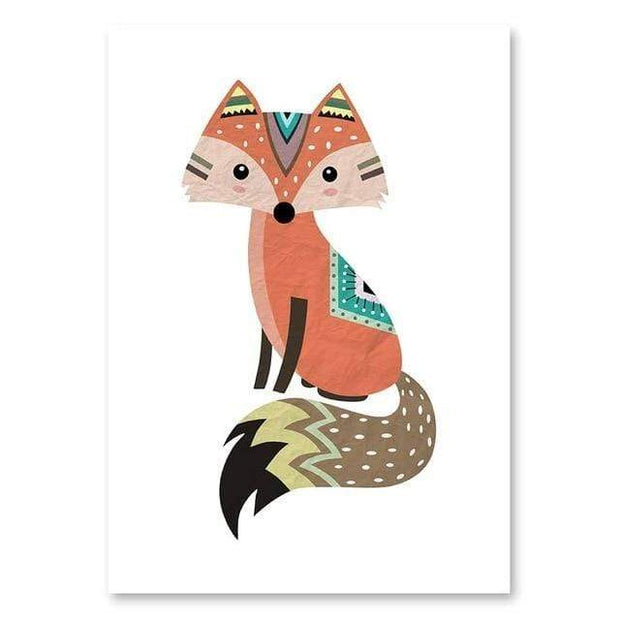 "Indian Style Cartoon Animal Canvas Posters For Kids Room Fox / 16""x12"" Canvas"