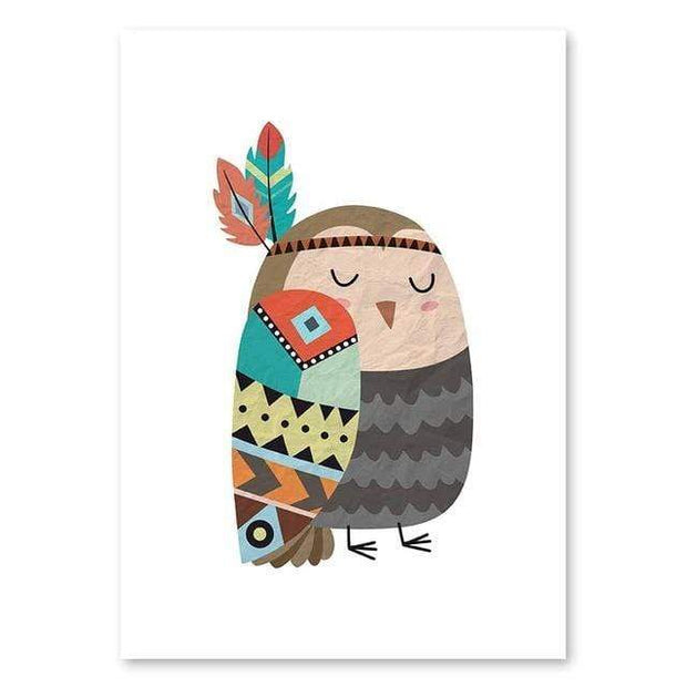 "Indian Style Cartoon Animal Canvas Posters For Kids Room Owl / 16""x12"" Canvas"