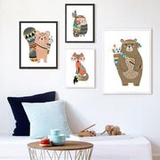 "Indian Style Cartoon Animal Canvas Posters For Kids Room Set of 4 / 16""x12"" Canvas"