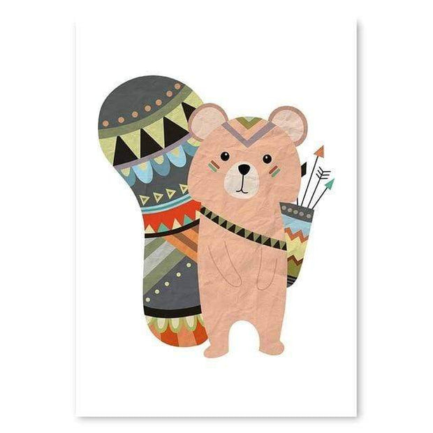 "Indian Style Cartoon Animal Canvas Posters For Kids Room Small Bear / 16""x12"" Canvas"