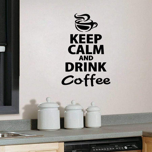 "Keep Calm and Drink Coffee Wall Sticker Black / 8""x12"" Wall Sticker"