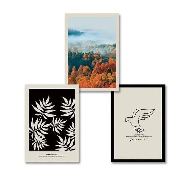 "Leaves,Trees and Bird Canvas Prints 8""x10"" / Set 3 pcs Canvas"