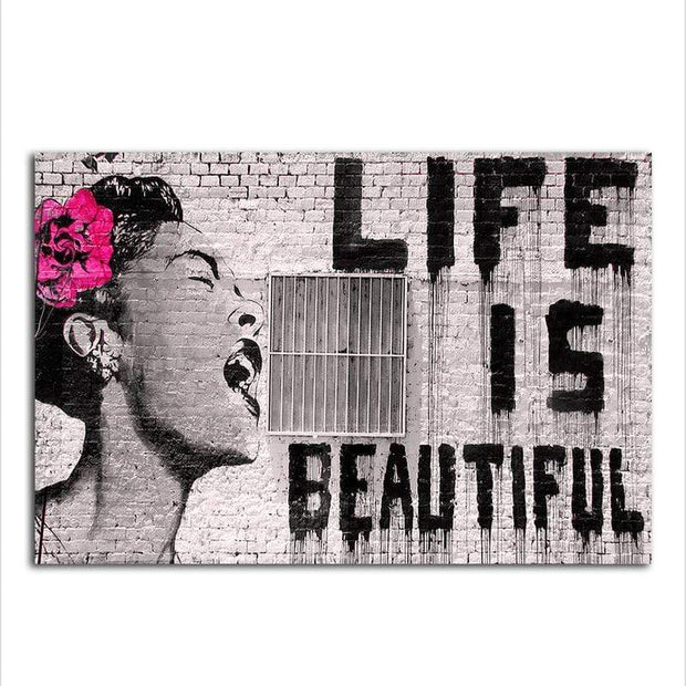 Life is Beautiful By Bansky Canvas Art canvas
