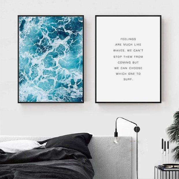 "Life Quote About Feelings And Ocean Canvas Posters For Wall Decor Set of 2 / 8""x12"" Canvas"
