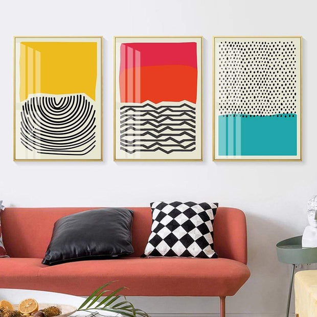 Lines and Dots with Colors Canvas Prints Canvas