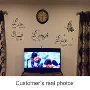 Live Laugh Love Butterfly Flower Wall Art Sticker Wall Sticker