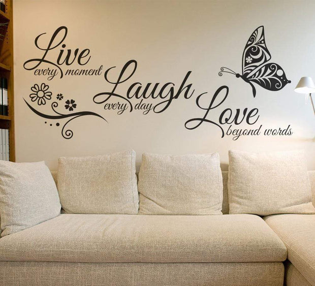 "Live Laugh Love Butterfly Flower Wall Art Sticker Black / 38""x16"" Wall Sticker"