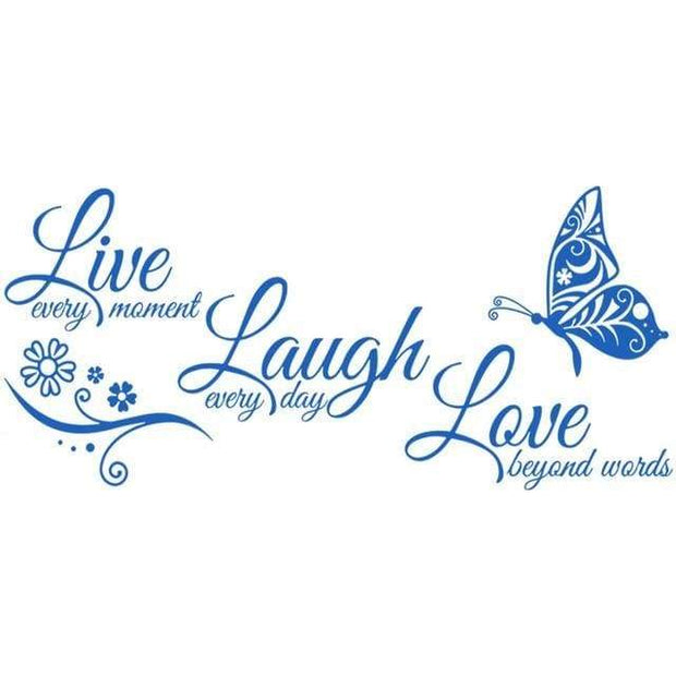 "Live Laugh Love Butterfly Flower Wall Art Sticker Blue / 38""x16"" Wall Sticker"