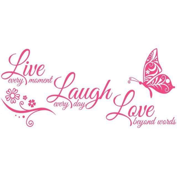 "Live Laugh Love Butterfly Flower Wall Art Sticker Blush / 38""x16"" Wall Sticker"