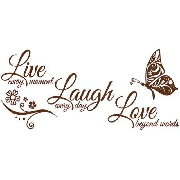 "Live Laugh Love Butterfly Flower Wall Art Sticker Brown / 38""x16"" Wall Sticker"
