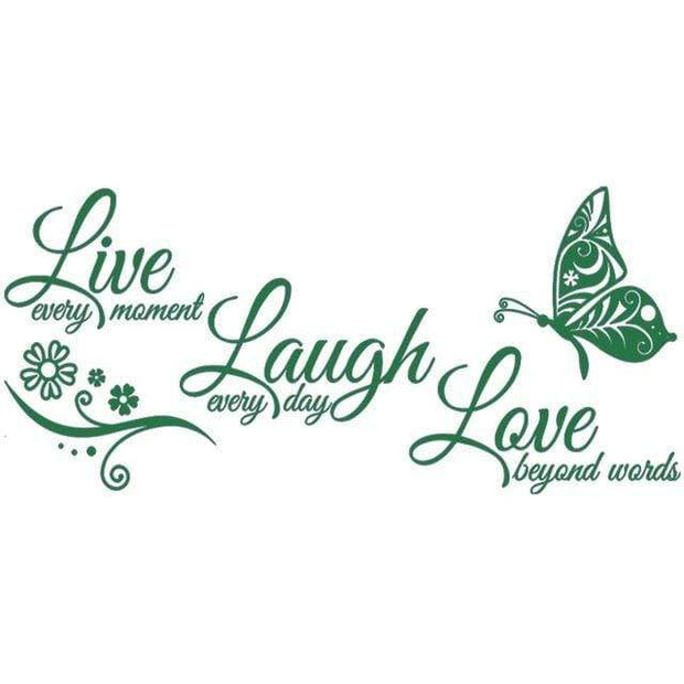 "Live Laugh Love Butterfly Flower Wall Art Sticker Dark Green / 38""x16"" Wall Sticker"