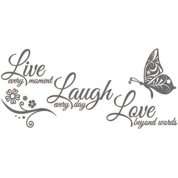 "Live Laugh Love Butterfly Flower Wall Art Sticker Dark Grey / 38""x16"" Wall Sticker"
