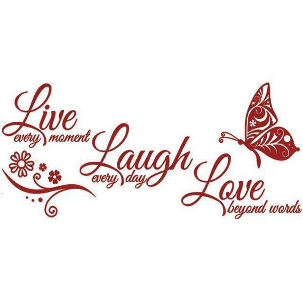 "Live Laugh Love Butterfly Flower Wall Art Sticker Dark Red / 38""x16"" Wall Sticker"