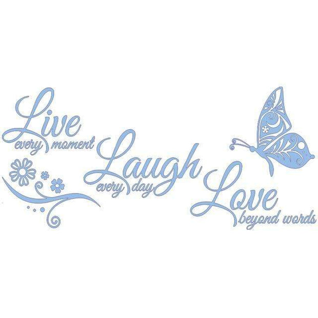 "Live Laugh Love Butterfly Flower Wall Art Sticker Light Blue / 38""x16"" Wall Sticker"