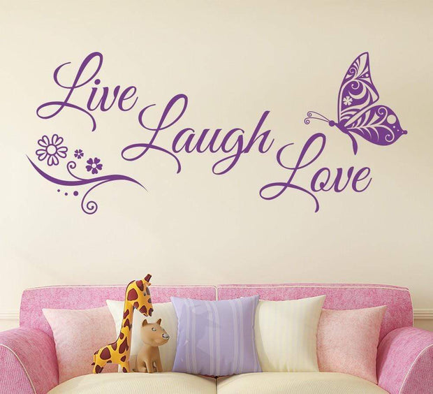 "Live Laugh Love Butterfly Flower Wall Art Sticker Lilac / 38""x16"" Wall Sticker"