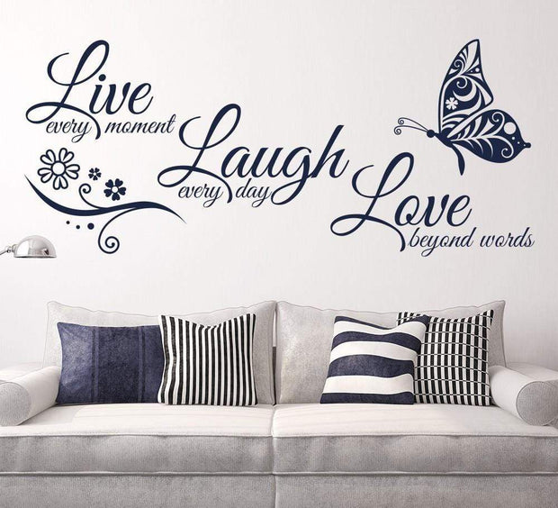 "Live Laugh Love Butterfly Flower Wall Art Sticker Navy Blue / 38""x16"" Wall Sticker"